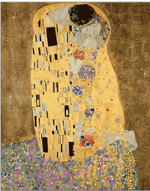 Unframe gustav klimt kiss painting gifts DIY handmade painting by numbers abstract drawing coloring by numbers on canvas