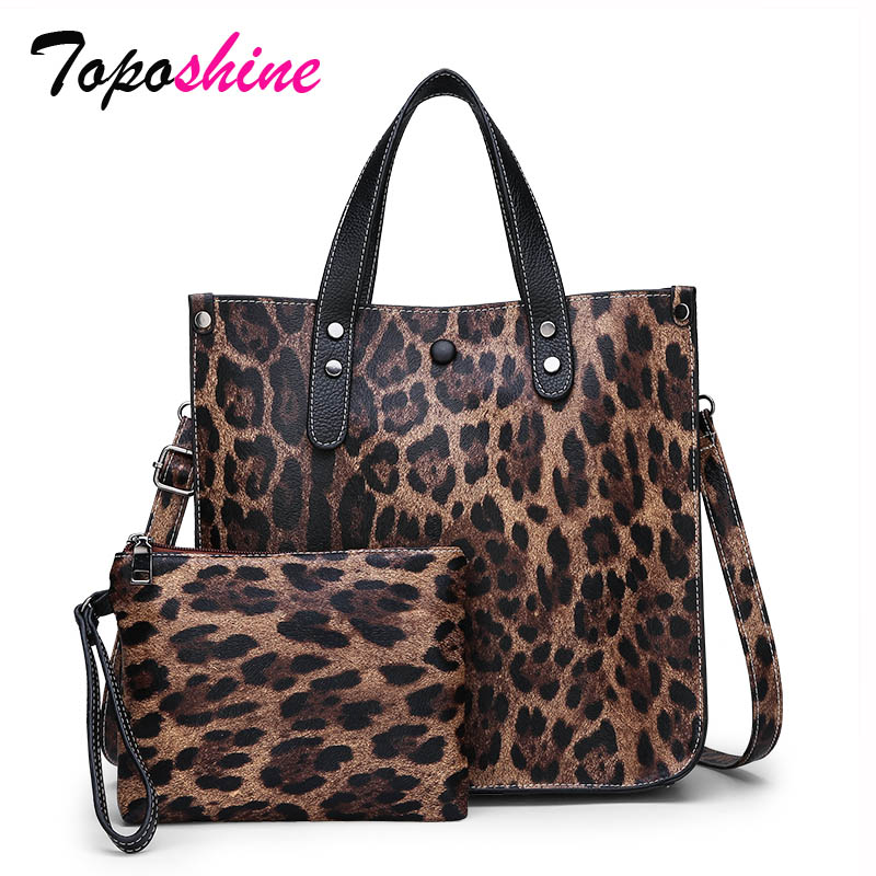Lady Handbag Leopard Composite-Bag Messenger-Bag Wild-Shoulder Large-Capacity High-Quality