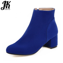 Plus Size 34-43 Solid Female Footwear Ankle Boots Casual Autumn Winter Boots Thick Heels Fashion Shoes Woman