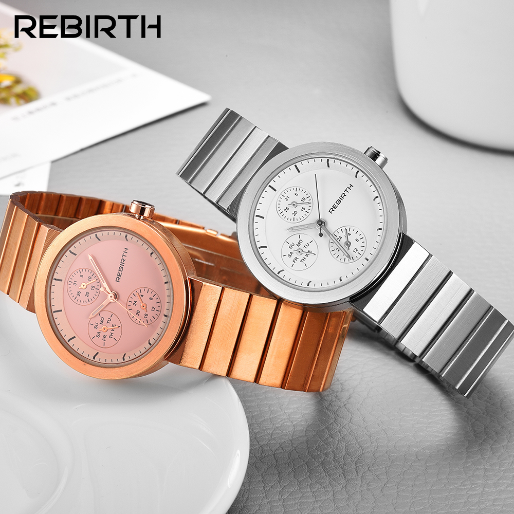 Fashion REBIRTH Ladies Watches For <font><b>Women</b></font>&#<font><b>39</b></font>;<font><b>s</b></font> Gift <font><b>Dress</b></font> Casual Bracelet Rose <font><b>Gold</b></font> montre femme Clock relogio feminino saat image