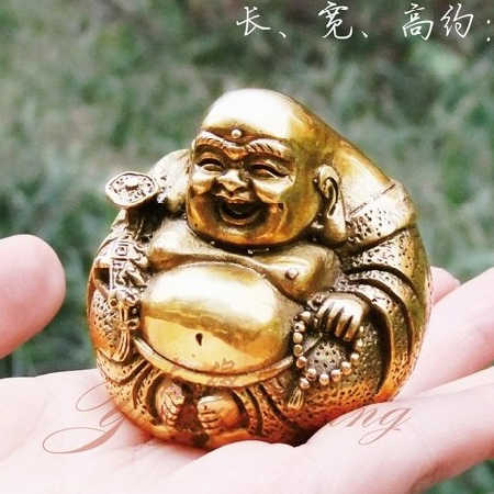 Open light pure copper Ruyi Maitreya Buddha Statue figure Home Furnishing Feng Shui  buddha ornament