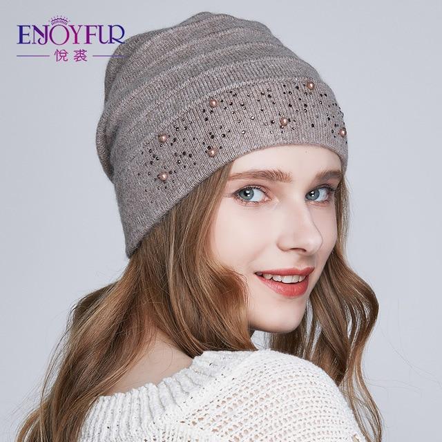 75c856c810e ENJOYFUR Winter Hats for Women Warm Wool Beanies Hat 2018 New Fashion  Double Lining Caps With Rhinestones