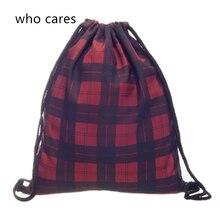 Who Cares New 3D Printing Red Tartan Mochila Feminina Backpack Women daily Fashion Casual Drawstring Bag