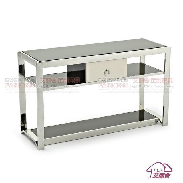 Moderno e minimalista in acciaio inox vetro marmo consolle tavoli moda a lungo stretto corridoio - Tavolo lungo e stretto ...