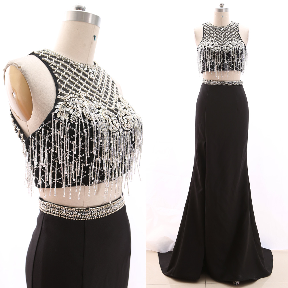 MACloth Black Mermaid O Neck Floor-Length Long Beading Tulle   Prom     Dresses     Dress   M 266171 Clearance