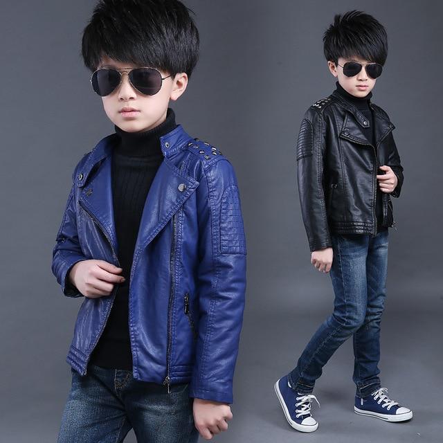 2c6160727 2018 2 10T Baby Boys Leather Jacket Kid Coats Spring Autumn Rivet ...