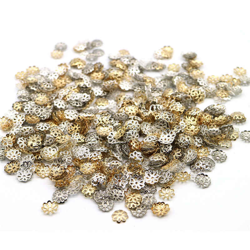 Groothandel 1000Pcs Verzilverd Bead Cups 6Mm Goud Bloemblaadje Einde Spacer Kralen Caps Bedels Voor Sieraden Maken drop Shipping