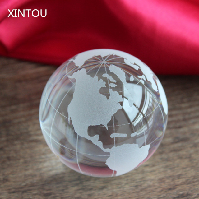 XINTOU Crystal Glass Globe World Map Ball Handmade 40 Mm Feng Shui Simple Decorative Globe Balls