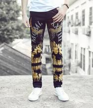 Street black straight painted printing feet pants man fashion true jeans men famous brand mens pants skinny jeans men trousers