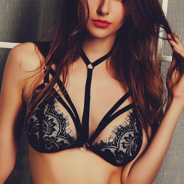 b60fe7b67a Sexy Lace Harness Wireless Halter Bralette Transparent Bras for Women See  Through Bra Caged Bralettes Sexy