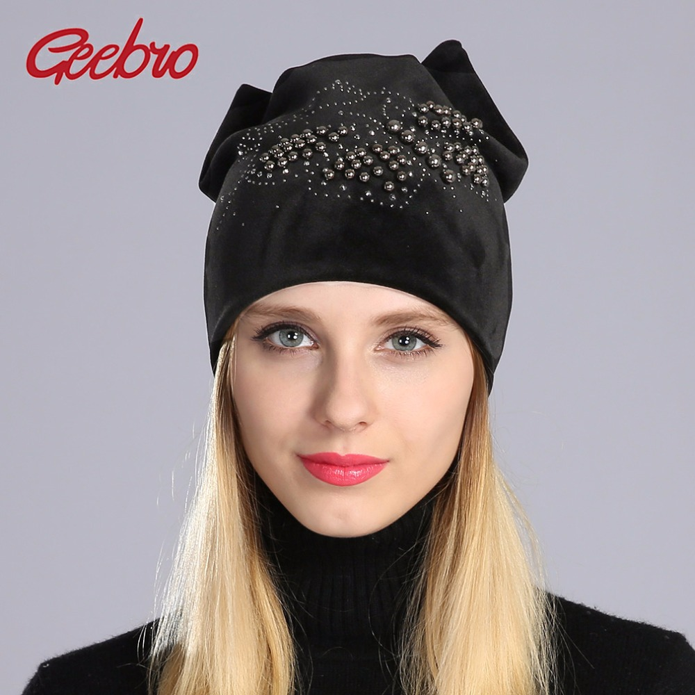 Detail Feedback Questions about Geebro Winter Beanie Hat Ladies Warm Velvet  Cat Ear Hats For Women Beanies Hats Pearls Butterfly Diamond Beanie With Ear  ... 371a4a5dc5e7