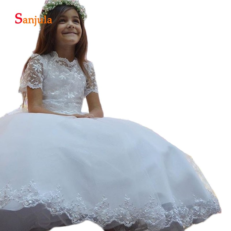 White Lace Ball Gown   Flower     Girls     Dresses   Short Sleeve Charming Little   Girls   First Communion   Dresses   with Beaded D214