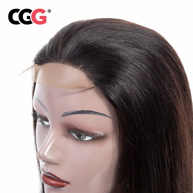 CGG  4*4 Lace Frontal Human Hair Wigs Brazilian Non-Remy Hair Straight Human Hair For Black Women Natural Color Medium Brown