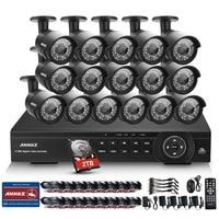 ANNKE 16CH CCTV System 2MP 1080P HDMI DVR 16PCS Outdoor Home Video Security Cameras Surveillance System