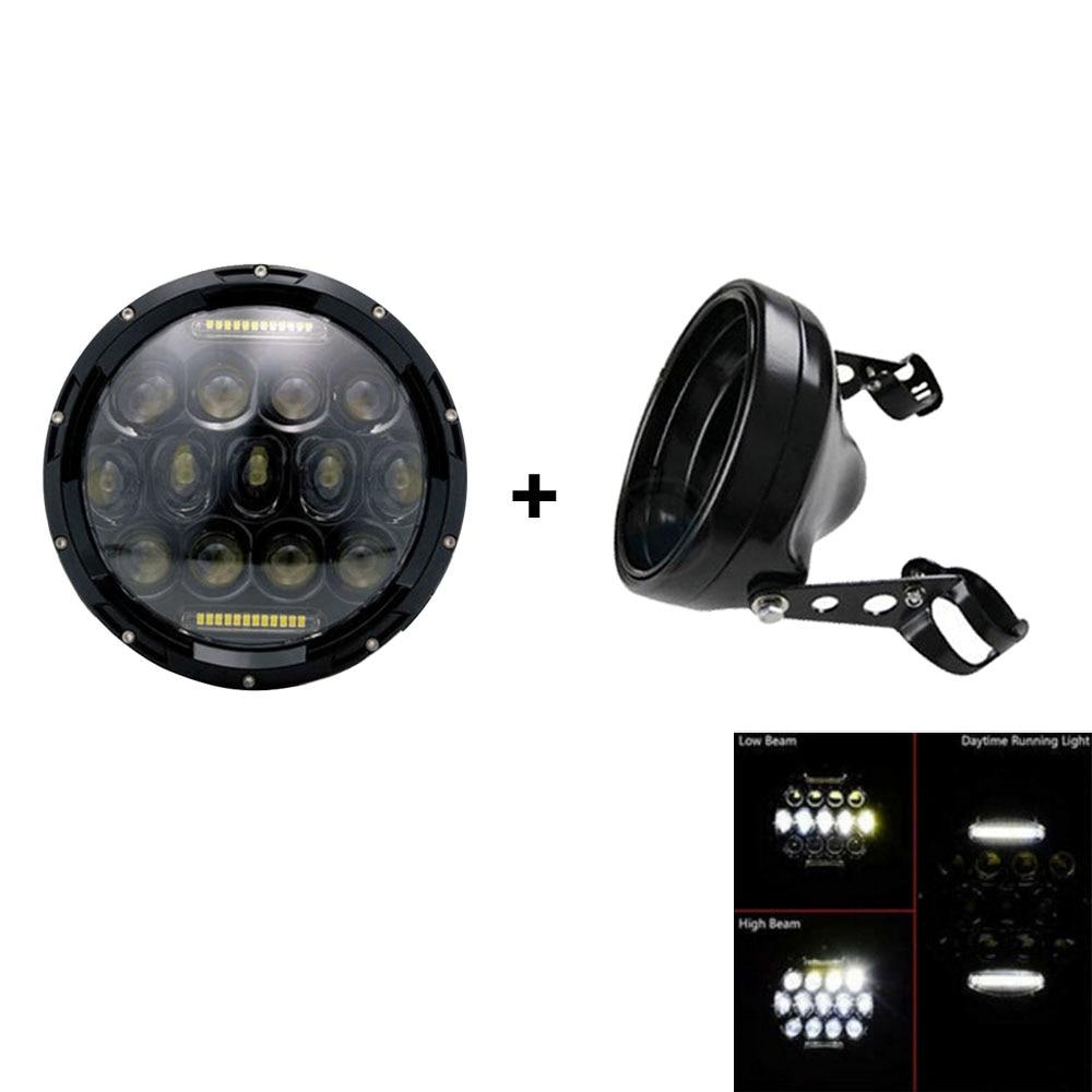 """7 pouces phares de moto Chrome logement phare ampoule seau pour Harley Yamaha Honda Suzuki 7 """"supports de phares"""