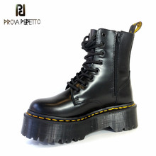 Prova perfetto 2019 Fashion Warm Winter Ankle Boots Microfiber Flatform Martin Boots Women Militares Riding Leather Boots Mujer