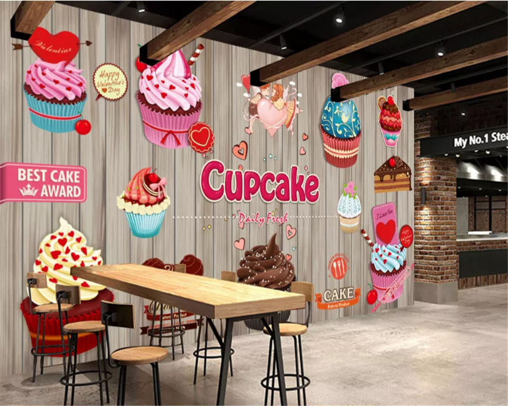6x Plywood Kinderkamers : Beibehang personality fashion wallpaper paper cup cake coffee