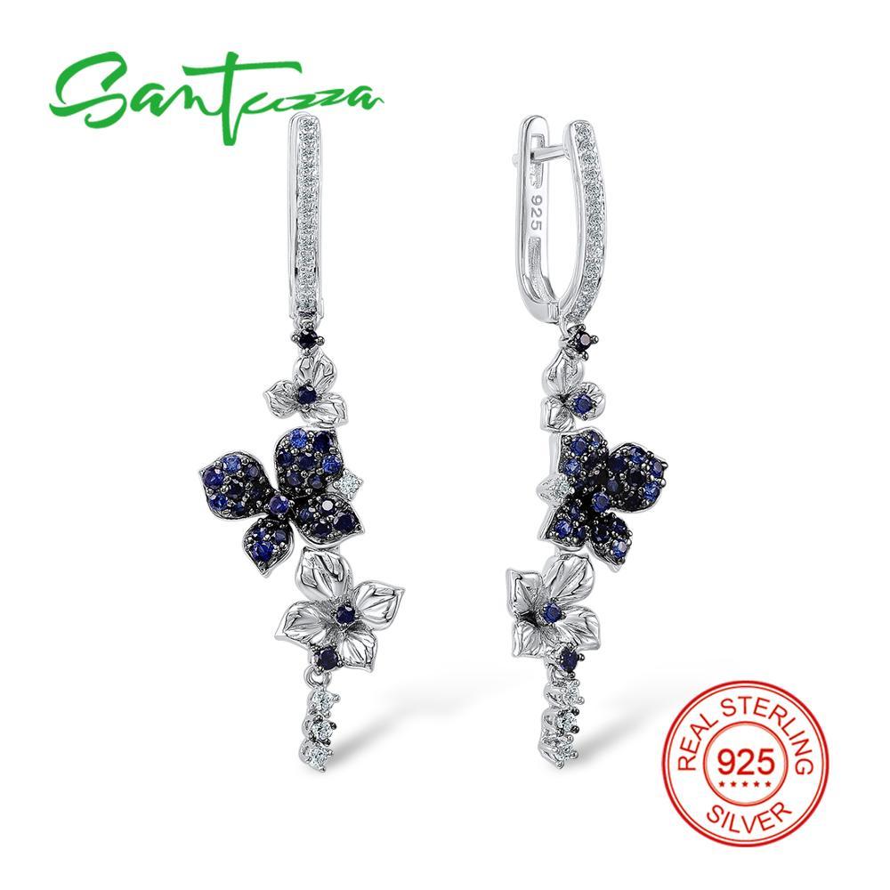 SANTUZZA Silver Earrings For Women 925 Sterling Silver Dangle Earrings Long Silver 925 with Stones Cubic Zirconia Jewelry fancy blue cubic zirconia 925 sterling silver drop dangle earrings for women s0209