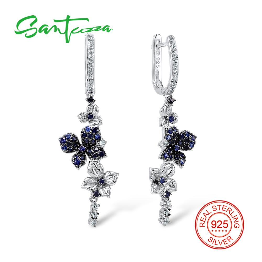 Image 2 - SANTUZZA Silver Earrings For Women Pure 925 Sterling Silver Dangle Blue Butterfly Earrings серьги brincos Fashion Jewelry-in Drop Earrings from Jewelry & Accessories