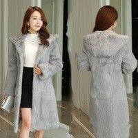 2018 Autumn Winter 90 Cm Long Plus Size S 8XL Hooded Natural Rabbit Fur Coats Women