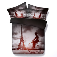 100% Cotton Eiffel Tower Paris Style Printed Home Textiles Bed Clothes Set 3/4PC Twin/King/Queen/Super King Size Children/Adult