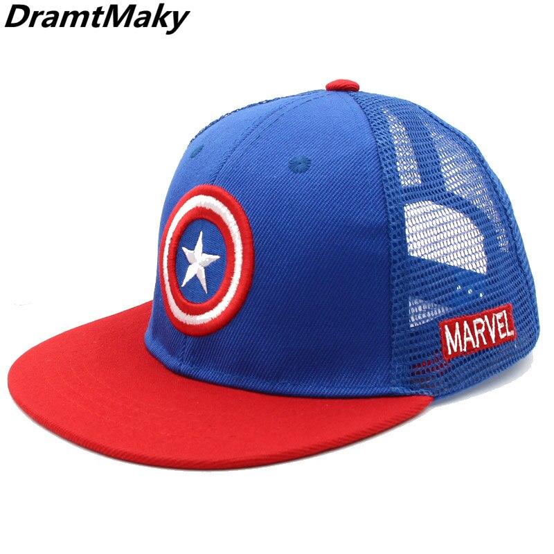 Модная детская бейсбольная кепка с изображением Капитана Америка, сетчатая кепка для детей, бейсболки эластичные для мальчиков и девочек, у...