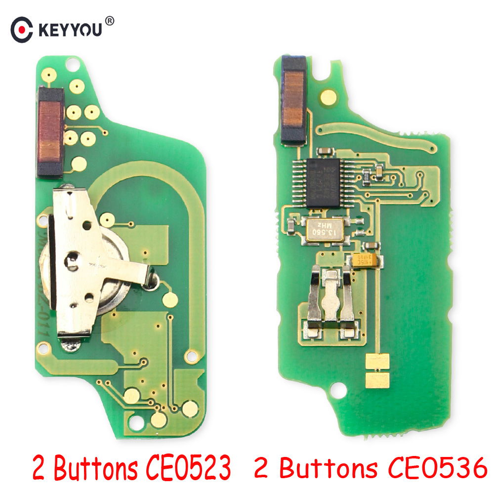 KEYYOU ASK, 2 botones CE0536/CE0523, mando a distancia, llave electrónica abatible para Peugeot 306 207 307 308 407 Citroen C2 C5 con ID46