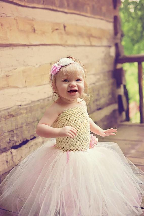 Ivory and Pink Flower Girl Wedding Tutu Dress3