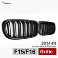 X5 X6 Carbon Fiber Framed Dual Slat Grill Front Kidney Grille Fit for BMW F15 F16 Bumper with M Emblem Matte Black 2015 2016