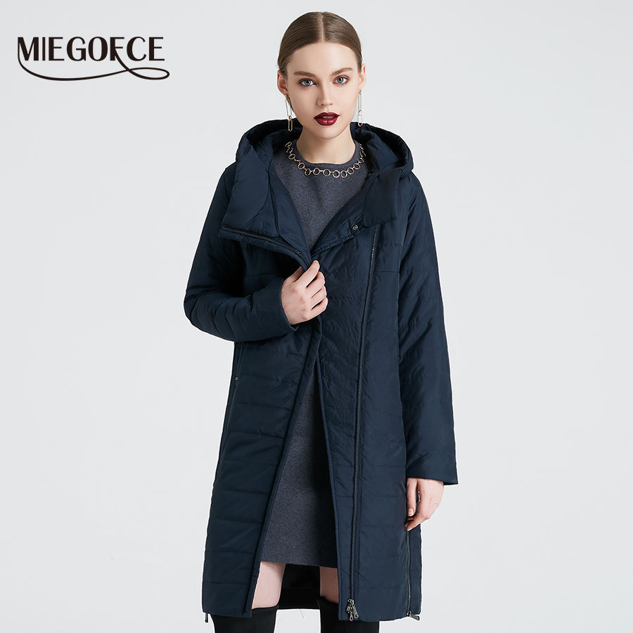 MIEGOFCE 2019 Spring Women Jacket With a Curve Zipper Women Coat High Quality Thin Cotton Padded