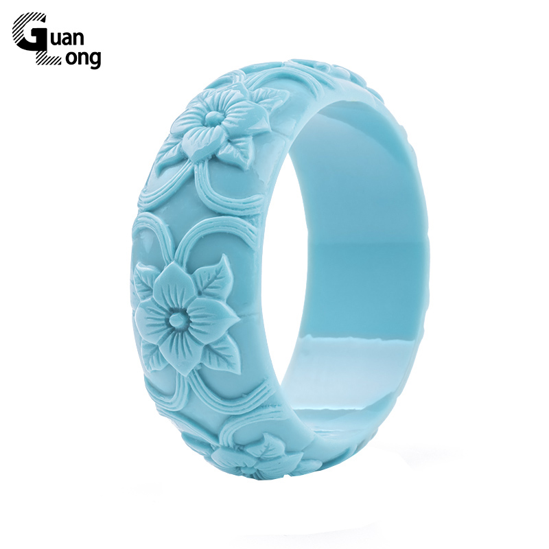 GuanLong Romantic Floral Flower Resin Bangles & Bracelets For Women Fashion Accessories Jewellery Puseira