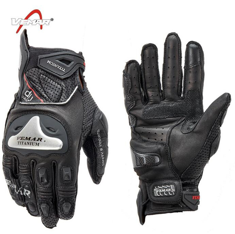 VEMAR Motorcycle Gloves Leather Motocross Off-Road Racing Gloves Motorcycle Riding Full Finger Gloves Luva Couro Motoqueiro