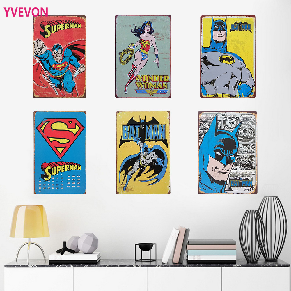 SUPER HERO Filmcsillag fém dekor plakát ón Vintage karikatúra jel animáció mozi Film poszter étterem otthoni fal 20x30cm