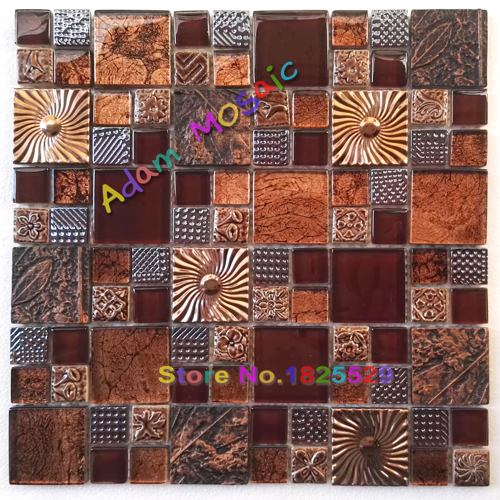 Glass Metal Tile Brown Golden
