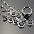 Preto Criado Sapphire Branco Topaz 925 Sterling Silver Jewelry Sets Para As Mulheres Sliver Colar Pingente Brincos Anéis Caixa Livre