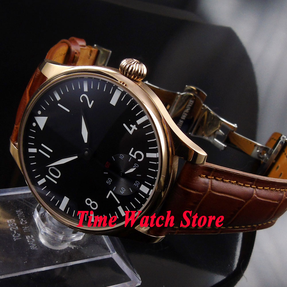 Parnis 44mm black dial luminous Golden case deployant clasp 6498 hand winding movement Men's watch 252A цена и фото