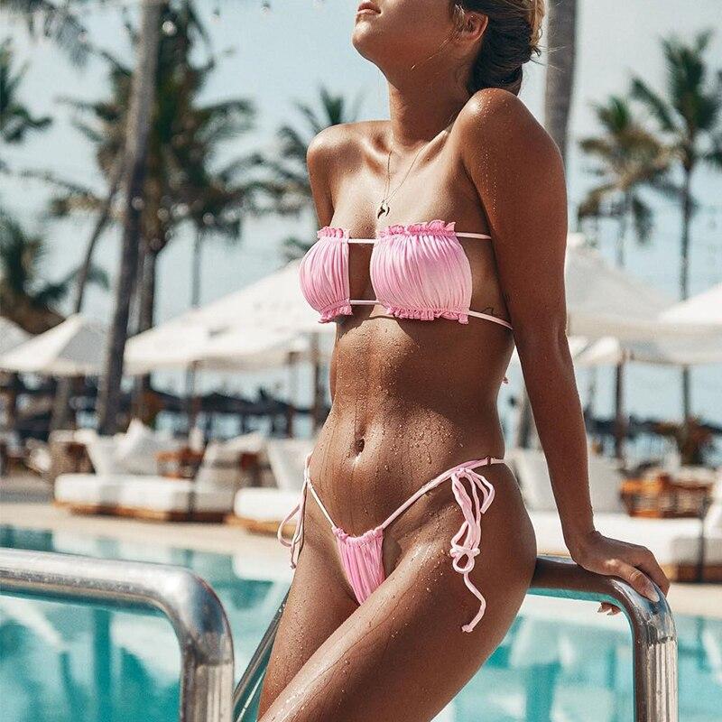 Peachtan Sexy pink swimwear women bathing suit Bandeau bikinis 2019 mujer Micro swimsuit female Push up two-piece suit summer