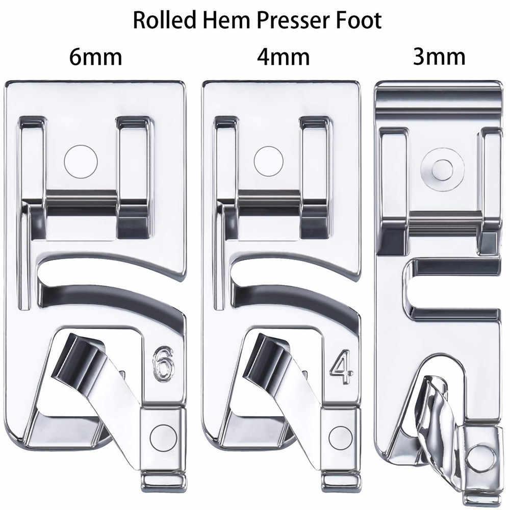 3Pcs תפירת אביזרי צר התגלגל Hem מכונת תפירת פרסר רגל סט תפירה ביתית פרסר רגל כלי רקמת חישוק