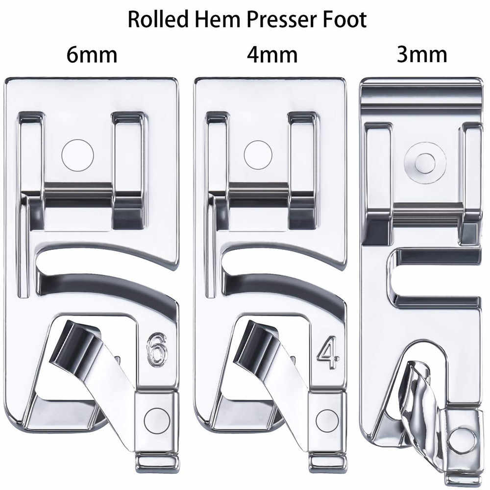 3Pcs sewing accessories Narrow Rolled Hem Sewing Machine Presser Foot Set Household sewing presser foot tool embroidery hoop