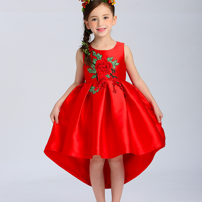 ФОТО 2017 summer girl princess dress children's clothing baby dress red children trailing dress embroidery costumes