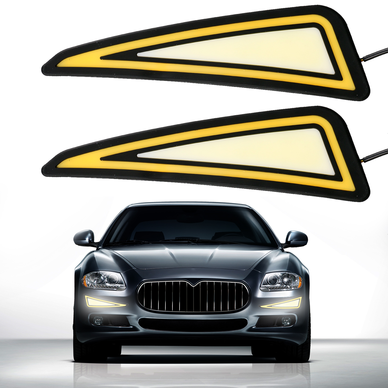 2pcs 12V 500LM Daytime Running Fog Driving Lamp Soft Silicone Triangle Lights Drive Auto Car COB LED DRL Light Watrerproof