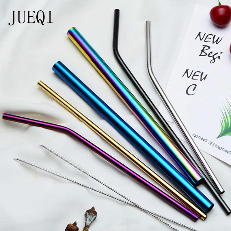Reusable Stainless Steel Drinking Metal Straw Boba Bubble Tea Smoothie Straws Bent Straight Colorful Tubes Eco Friendly With Bag