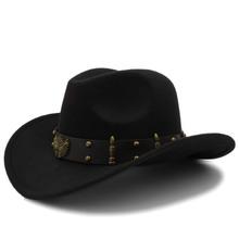 Wome mężczyźni czarna wełna Chapeu zachodni kapelusz kowbojski dżentelmen Jazz Sombrero Hombre czapka elegancka dama Cowgirl kapelusze rozmiar 56-58CM tanie tanio HXGAZXJQ Z wełny Dla dorosłych Unisex Stałe Na co dzień AJ0189-JQ Kowbojskie kapelusze 58CM adjused size 11CM topi pria