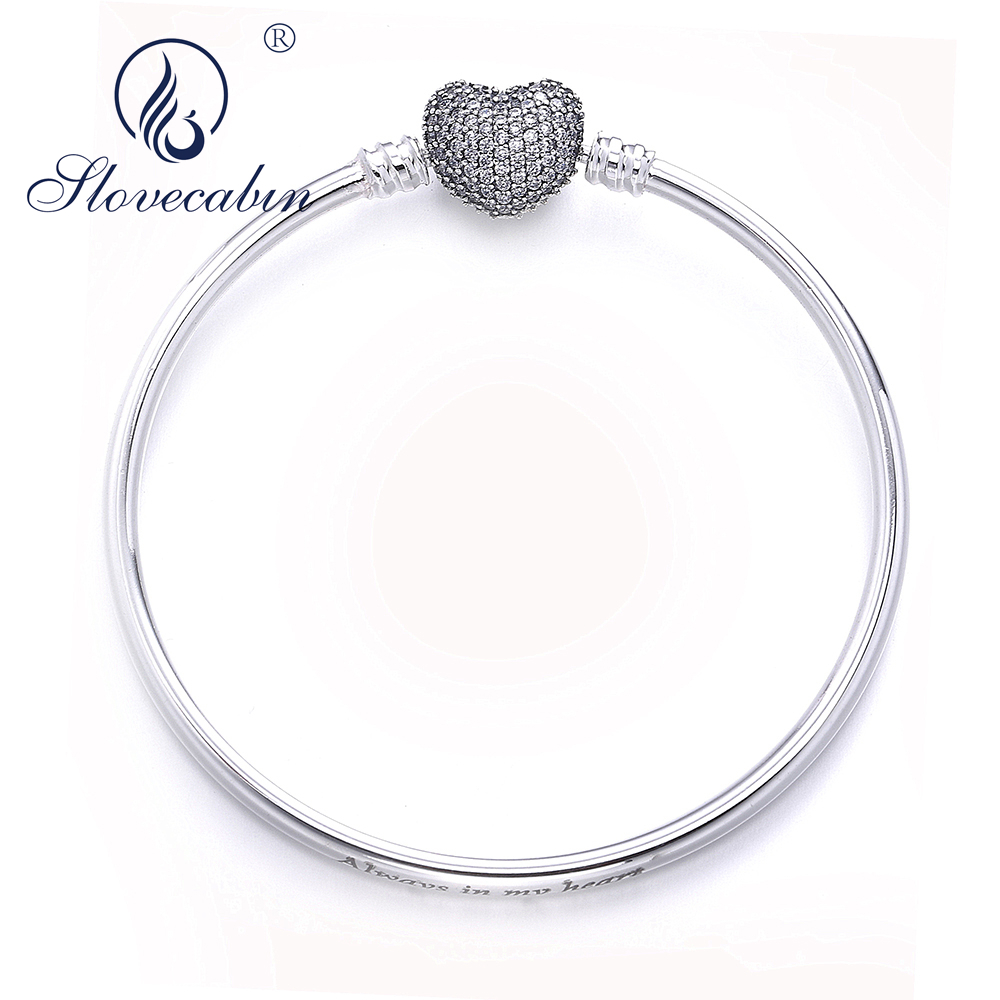 Slovecabin Real 925 Sterling Silver Moments Hearts Bangle For Women Europe Popular Silver Snake Bracelet With Dazzling Stone slovecabin europe classic 925 sterling silver snake charm necklace with clasp for men 2017 popular silver snake chain necklace