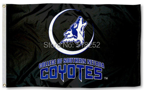 Southern Nevada Coyotes Black Flag 3x5 FT 150X90CM NCAA Banner 100D Polyester Custom flag grommets 6038, free shipping