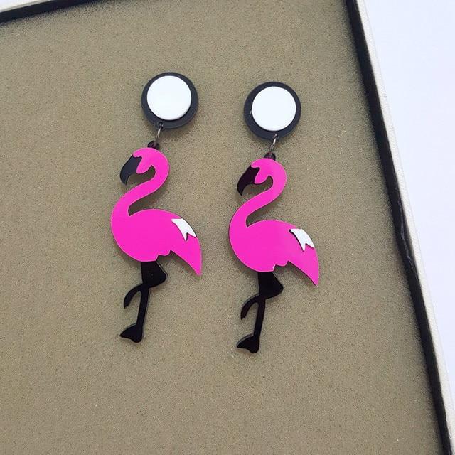 Hot sale Flamingo Earrings Jungle Birds Earrings Woman's Fashion Earrings for Party Hip Hop Punk Acrylic Drop Earrings Brincos
