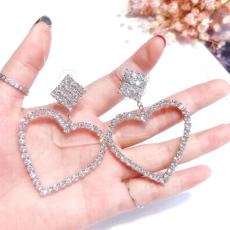 Korean Heart Earrings Rhinestone Square Geometric Dangle Earrings For Women 2019 Fashion Jewelry Accessories Fine Gifts