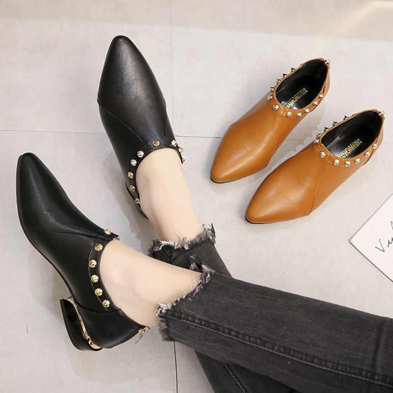 Plus Größe 35-42 Frauen Schuhe Spitz oxfords Schuhe Nieten Kleid Schuhe Low Heels Damen Schuhe Frau Wohnungen zapatos Mujer N7052