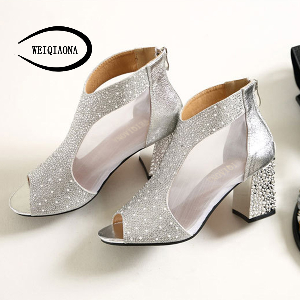Chunky Wedding Heels: WEIQIAONA Open Toe Sandals Women Summer Shoes Gold