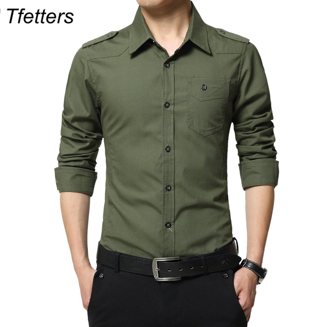 Aliexpress Com Buy Tfetters Fashion Design T Shirt Men: TFETTERS Men's Shirt Epaulette Fashion Full Sleeve Epaulet